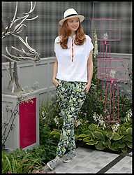 Lilly Cole on the Fabric stand on the VIP preview day at the Chelsea Flower Show. London, United Kingdom. Monday, 19th May 2014. Picture by Andrew Parsons / i-Images