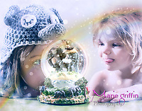 Paisley and Kora photos for elephant snow globe composite Feb. 9, 2017 in home studio.<br /> Photography by: Marie Griffin Dennis/Marie Griffin Photography<br /> mariegriffinphotography.com<br /> mariefgriffin@gmail.com
