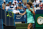 Svetlana Kuznetsova (RUS) hits a forehand to Ashleigh Barty (AUS) during the Western and Southern Open tennis tournament at Lindner Family Tennis Center, Saturday, Aug 17, 2019, in Mason, OH. (Jason Whitman/Image of Sport)