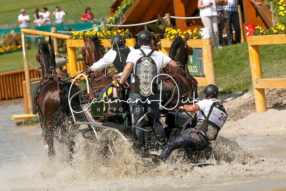 Dobrovitz Jozsef Jr, (HUN), Bandidos, Doerak, Vivaldo, Waltstar<br /> Marathon Driving Competition<br /> European Championships - Aachen 2015<br /> &copy; Hippo Foto - Dirk Caremans<br /> 22/08/15