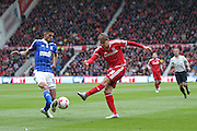 Middlesbrough midfielder, on loan from Southampton, Gaston Ramirez (21) with a shot during the Sky Bet Championship match between Middlesbrough and Ipswich Town at the Riverside Stadium, Middlesbrough, England on 23 April 2016. Photo by Simon Davies.