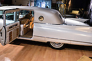 Museum display of the gold 1960 Fleetwood Series 60 Special Sedan cadillac owned by Elvis Presley on display at the Country Music Hall of Fame in Nashville, TN.