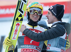 04.01.2015, Bergisel Schanze, Innsbruck, AUT, FIS Ski Sprung Weltcup, 63. Vierschanzentournee, Innsbruck, Siegerehrung, im Bild v.l.: Noriaki Kasai (JPN, 3. Platz) und Simon Ammann (SU, 3. Platz) // 3rd placed Noriaki Kasai of Japan and Simon Ammann of Switzerland celebrates after his second competition jump for the 63rd Four Hills Tournament of FIS Ski Jumping World Cup at the Bergisel Schanze in Innsbruck, Austria on 2015/01/04. EXPA Pictures © 2015, PhotoCredit: EXPA/ JFK