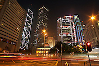 China Hong Kong illuminated skyscrapers and blurred traffic