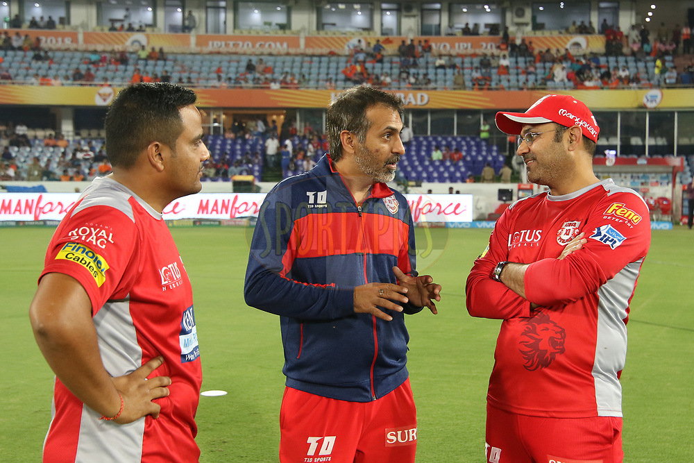 Virender Sehwag with others during match twenty five of the Vivo Indian Premier League 2018 (IPL 2018) between the Sunrisers Hyderabad and the Kings XI Punjab  held at the Rajiv Gandhi International Cricket Stadium in Hyderabad on the 26th April 2018.<br /> <br /> Photo by Saikat Das /SPORTZPICS for BCCI