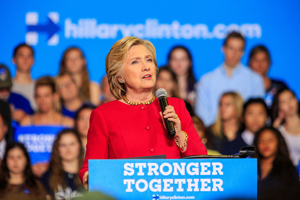 Harrisburg, PA, USA - October 4, 2016: Presidential candidate Hillary Clinton speaking about her opponent to supporters.