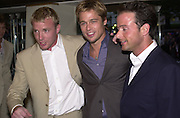 Guy  Ritchie,  Brad Pitt,  and Mathew Vaugn. Snatch Premiere. Odeon Leicester Sq. London. 23 Augusty 2000. <br />© Copyright Photograph by Dafydd Jones 66 Stockwell Park Rd. London SW9 0DA Tel 020 7733 0108 www.dafjones.com