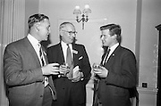 05/05/1965<br /> 05/05/1965<br /> 05 May 1965<br /> Thomas Heiton and Co. Ltd. Reception  to promote stainless steel in manufacturing at the Shelbourne Hotel, Dublin. Pictured at the reception were (l-r): Mr. J.C. Casey, Sales Rep. for Munster, Thomas Heiton and Co.; Mr. E.S. Usher, Director and Manager (iron and steel) Thomas Heiton and Co. and Mr. Michael O'Brien, Chief Draftsman, I.A.W.S., Limerick. Thomas Heiton and Co. were agents for steel produced by Samuel Fox and Co. Ltd., Sheffield, England.