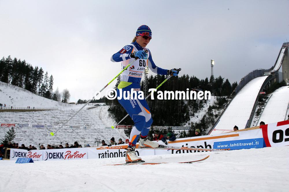 08.03.2009, Lahti, Finland..Salpaussel?n Kisat / Lahti Ski Games.Hiihdon Maailmancup / Cross Country FIS World Cup.Naisten 10 km vapaa / Ladies 10 km Free.Virpi Kuitunen - Suomi / Finland.©Juha Tamminen