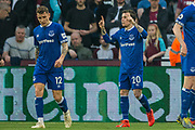 Bernard (Everton) celebrates his goal giving Everton a 0-2 lead in the first half during the Premier League match between West Ham United and Everton at the London Stadium, London, England on 30 March 2019.