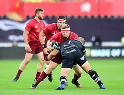 Munster's Liam O'Connor is tackled by Ospreys' Paul James - Mandatory by-line: Craig Thomas/JMP - 16/09/2017 - RUGBY - Liberty Stadium - Swansea, Wales - Ospreys Rugby v Munster Rugby - Guinness Pro 14