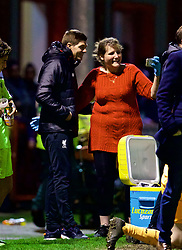ALTRINGHAM, ENGLAND - Friday, March 10, 2017: A supporter gets a selfie with Liverpool's academy coach Steven Gerrard after a 2-2 draw with Manchester United during an Under-18 FA Premier League Merit Group A match at Moss Lane. (Pic by David Rawcliffe/Propaganda)