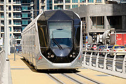 New Dubai tram in Marina district of New Dubai in United Arab Emirates