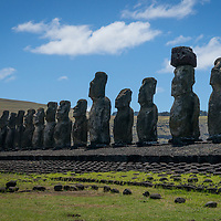 Moai are monolithic human figures created by the Rapa Nui people on Easter Island of the west coast of Chile.  They were carved between 1250 and 1500 A.D.