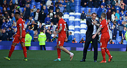 LIVERPOOL, ENGLAND - Sunday, October 4, 2015: Liverpool's manager Brendan Rodgers shakes hands with Alberto Moreno after the 1-1 draw with Everton, which was his last game in charge of the Reds, during the Premier League match at Goodison Park, the 225th Merseyside Derby. (Pic by Lexie Lin/Propaganda)