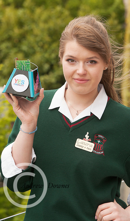 01/05/2015  repro free Laura Karaliute from St Leo's Carlow with Sassy her robot at the  Irish Robotics Championship where over 450 second level students competed for the coveted trophy supported by  EA Games. Photo:Andrew Downes: XPOSURE