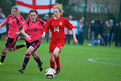 NEWPORT, WALES - Sunday, April 3, 2016: England's Sophie Quirk in action against Scotland's Michaela McAlonie during Day 3 of the Bob Docherty International Tournament 2016 at Dragon Park. (Pic by David Rawcliffe/Propaganda)