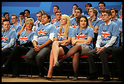 Image licensed to i-Images Picture Agency. 28/09/2014. Birmingham, United Kingdom. Young conservatives on stage at the opening day of the  Conservative Party Conference in Birmingham, United Kingdom.   Picture by Stephen Lock / i-Images