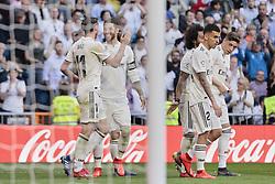 March 16, 2019 - Madrid, Madrid, Spain - Real Madrid's Gareth Bale (L) and Sergio Ramos (R) seen celebrating a goal during La Liga match between Real Madrid and Real Club Celta de Vigo at Santiago Bernabeu Stadium in Madrid, Spain. (Credit Image: © Legan P. Mace/SOPA Images via ZUMA Wire)