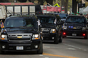 Vice President Mike Pence's motorcade arrived at City Hall, Saturday, March 17, 2018, before the start of the St. Patrick's Day parade in Savannah, Ga. (AP Photo/Stephen B. Morton)