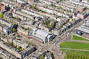 Nederland, Noord-Holland, Amsterdam, 09-04-2014; Van Baerlestraat met Concertgebouw (hoek De Laressestraat). Rechts Museumplein, hoek Stedelijk Museum. Woonwijk Oud-Zuid.<br /> Museumplein and the Concertgebouw. Right a small piece of the Stdelijk meseum.<br /> luchtfoto (toeslag op standard tarieven);<br /> aerial photo (additional fee required);<br /> copyright foto/photo Siebe Swart