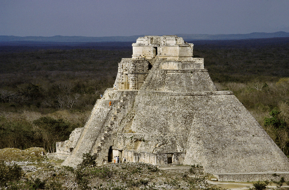 "El Adivino, the Pyramid of the Magician at Uxmal, meaning ""thrice-built."" Yucatan, Mexico."