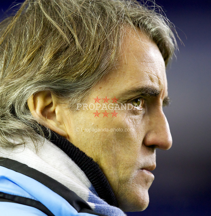 LIVERPOOL, ENGLAND - Tuesday, January 31, 2012: Manchester City's manager Roberto Mancini before the Premiership match against Everton at Goodison Park. (Pic by Vegard Grott/Propaganda)