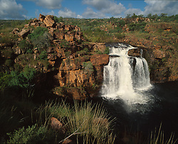 Aerial view of Caroline Falls, which runs into the Charnley River in the Artesian Range.