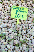Fresh almonds Cagla Badem, with Turkish lira price ticket on sale in food market in Kadikoy district Asian side Istanbul, Turk