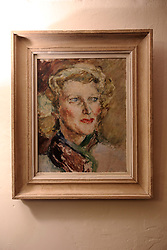 UK ENGLAND FOWEY 19FEB15 - Portrait of Daphne Du Maurier by her sister Jeanne and owned by Ann Willmore at Bookends of Fowey, Cornwall, England, a specialist bookshop on literature by famous English novelist Daphne Du Maurier. Fowey, a small fishing and harbour village was the living place of famous English writer Daphne Du Maurier and many of her novels are based here.<br /> <br /> jre/Photo by Jiri Rezac<br /> <br /> © Jiri Rezac 2015
