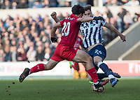 Football - 2016 / 2017 FA Cup - Fifth Round: Millwall vs. Leicester City <br /> <br /> Jake Cooper of Millwall blocks the attempted strike from Shinji Okazaki of Leicester City at The Den<br /> <br /> COLORSPORT/DANIEL BEARHAM