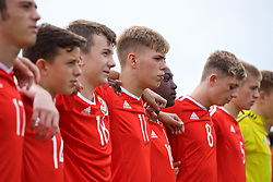 NEWPORT, WALES - Sunday, September 24, 2017: Wales' Cavan Williams lines-up to sing the national anthem before an Under-16 International friendly match between Wales and Gibraltar at the Newport Stadium. (Pic by David Rawcliffe/Propaganda)