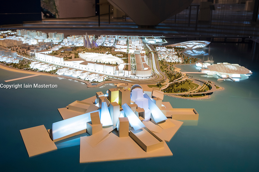 Model of new Guggenheim museum at Manarat Al Saadiyat art and cultural centre on Saadiyat Island in Abu Dhabi United Arab Emirates