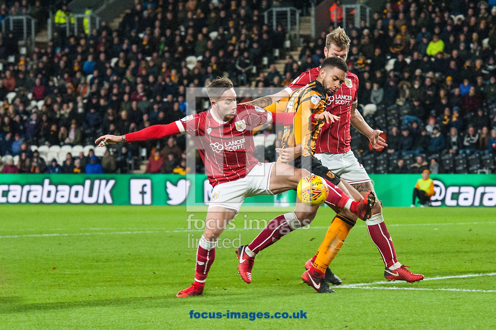 Michael Hector of Hull City tries to find a way through the Bristol City defence during the Sky Bet Championship match at the KCOM Stadium, Hull<br /> Picture by Matt Wilkinson/Focus Images Ltd 07814 960751<br /> 25/11/2017