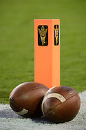 TEMPE, AZ - SEPTEMBER 24:  A detail view of an Arizona State Sun Devils pylon  and footballs on the field at Sun Devil Stadium on September 24, 2016 in Tempe, Arizona. The Sun Devils won 51-41.  (Photo by Jennifer Stewart/Getty Images)