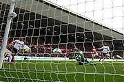 Goal - Jayden Bogle (37) of Derby County scores a goal to give a 0-2 lead to the away team during the EFL Sky Bet Championship match between Bristol City and Derby County at Ashton Gate, Bristol, England on 27 April 2019.