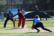 Lancashire Thunders Ellie Threlkeld during the Vitality T20 Blast North Group match between Lancashire Thunder and Yorkshire Vikings at Liverpool Cricket Club, Liverpool, United Kingdom on 13 August 2019.