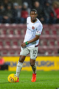 Arnaud Djoum (#10) of Heart of Midlothian during the William Hill Scottish Cup quarter final replay match between Heart of Midlothian and Partick Thistle at Tynecastle Stadium, Gorgie, Edinburgh Scotland on 12 March 2019.