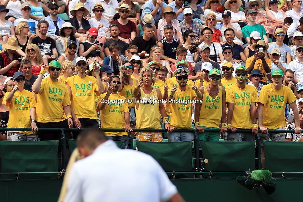 1 July 2015 - Wimbledon Tennis (Day 3) - A group of Australians cheer on Nick Kyrgios - Photo: Marc Atkins / Offside.
