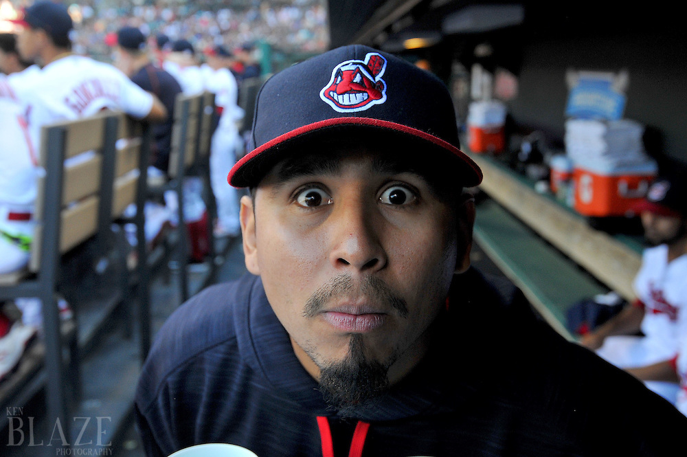 Sep 4, 2016; Cleveland, OH, USA; Cleveland Indians pitcher Carlos Carrasco (59) makes a face into a remote camera during the second inning at Progressive Field. Mandatory Credit: Ken Blaze-USA TODAY Sports