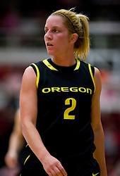 February 18, 2010; Stanford, CA, USA;  Oregon Ducks guard Micaela Cocks (2) during the first half against the Stanford Cardinal at Maples Pavilion. Stanford defeated Oregon 104-60.