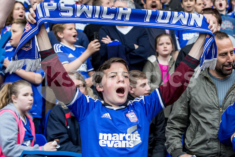 Ipswich fans during the Sky Bet Championship Play Off 1st Leg match between Ipswich Town and Norwich City at Portman Road, Ipswich, England on 9 May 2015. Photo by Liam McAvoy.