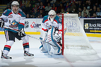 KELOWNA, CANADA - DECEMBER 27:  Jackson Whistle #1 of the Kelowna Rockets defends the net against the Kamloops Blazers at the Kelowna Rockets on December 27, 2012 at Prospera Place in Kelowna, British Columbia, Canada (Photo by Marissa Baecker/Shoot the Breeze) *** Local Caption ***