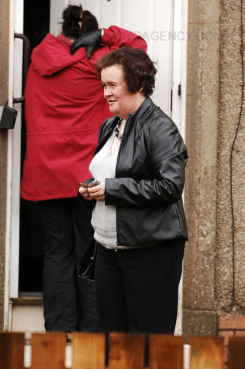 Susan Boyle's media interest continues. The Britain's Got Talent contestant from Blackburn, West Lothian became an overnight success with her performance of 'I Dreamed A Dream' from Les Miserables on the popular TV show...Pic shows Susan Boyle leaving her home in Blackburn holding a big bar of chocolate, Monday 27th April 2009...Picture Richard Scott/Maverick