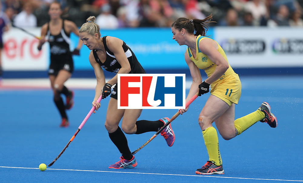LONDON, ENGLAND - JUNE 19: Stacey Michelsen of New Zealand and Karri McMahon of Australia during the FIH Women's Hockey Champions Trophy match between Australia and Britain at New Zealand at Queen Elizabeth Olympic Park on June 19, 2016 in London, England.  (Photo by Alex Morton/Getty Images)