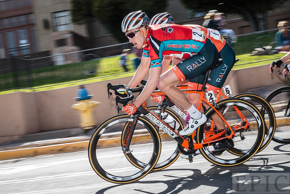 SILVERY CITY, NM - APRIL 21: Robert Britton (Rally Cycling) in the leaders jersey during stage 4 of the Tour of The Gila on April 21, 2018 in Silver City, New Mexico. (Photo by Jonathan Devich/Epicimages.us)