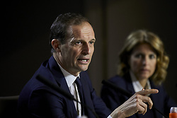 February 19, 2019 - Madrid, Madrid, Spain - Juventus' coach Massimiliano Allegri seen speaking during the Press Conference before the UEFA Champions League match between Atletico de Madrid and Juventus at the Wanda Metropolitano Stadium in Madrid. (Credit Image: © Legan P. Mace/SOPA Images via ZUMA Wire)
