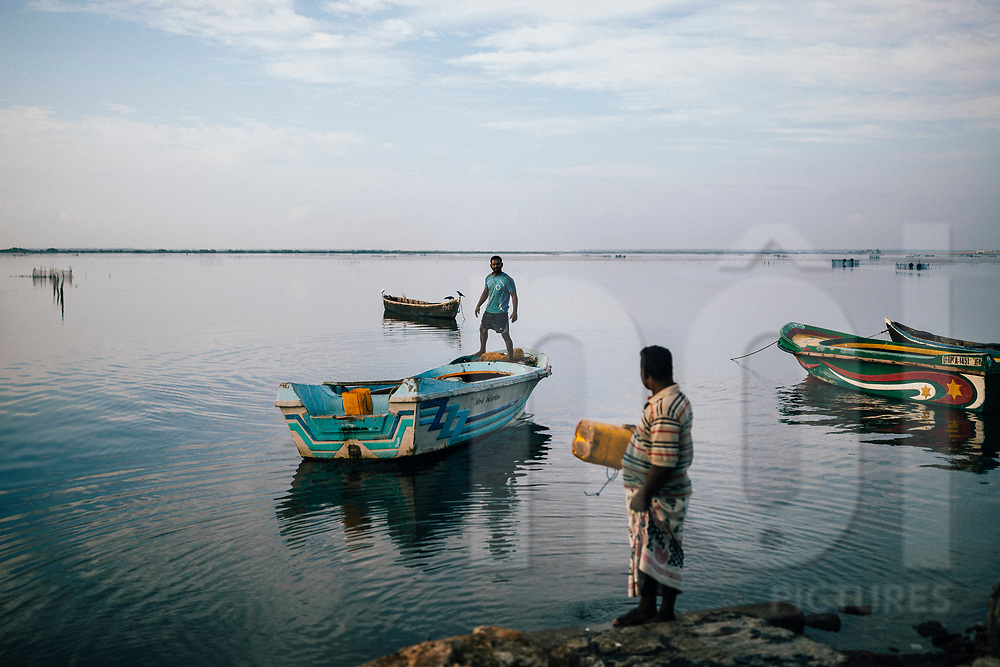 Fishermen set out to sea in the early morning hours, Jaffna, Sri Lanka, Asia