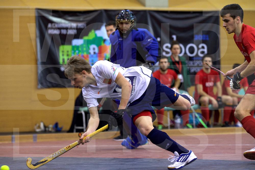 2017 EuroHockey Indoor Junior Championship (M)<br /> 12 Portugal - Russia<br /> Foto: Sergey Lepeshkin scores 4 time.<br /> FFU PRESS AGENCY COPYRIGHT FRANK UIJLENBROEK