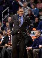 Jan. 14, 2013; Phoenix, AZ, USA; Phoenix Suns head coach Alvin Gentry stands on the sidelines during the game against the Oklahoma City Thunder at the US Airways Center. The Thunder defeated the Suns 102-90. Mandatory Credit: Jennifer Stewart-USA TODAY Sports